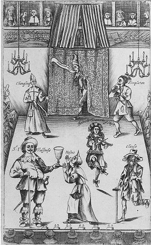 Shakespeare in performance - Frontispiece to The Wits (1662), showing theatrical drolls, with Falstaff in the lower left corner.