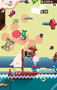 Billy with his red hat is looking away from the player, and fish are scattered about the screen over a yellow background, with little red clouds where fish were shot—the fish include crabs, octopuses, little fish, and sea creatures that look like red prickly pears