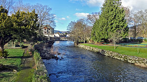 River Greta, Cumbria - River Greta in Fitz Park, looking towards the town