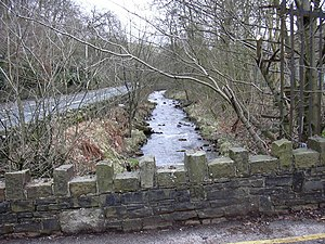 Broadclough - River Irwell close to Broadclough Hall serving Meadows Mill