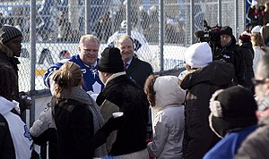 Rob Ford - Ford at a Toronto Maple Leafs practice in Trinity Bellwoods Park, 2010