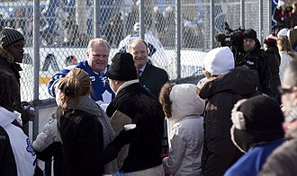 Mayoralty of Rob Ford - Ford at a Toronto Maple Leafs practice in Trinity Bellwoods Park, 2010
