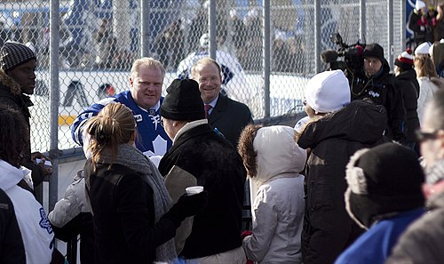 Ford at a Toronto Maple Leafs practice in Trinity Bellwoods Park, 2010. Rob Ford Trinity Bellwoods Park Toronto 2010.jpg
