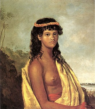 "Breast - 1825 oil painting entitled ""Tetuppa, a Native Female of the Sandwich Islands"", by Robert Dampier"