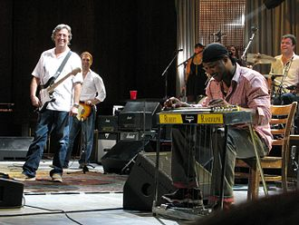 "Robert Randolph and the Family Band - Robert Randolph and Eric Clapton performing ""Got My Mojo Working"" at Cuyahoga Falls, May 31, 2008"
