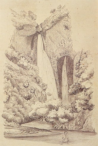 Robert Wilson Andrews - Hanapēpē Falls, Kauai, graphite drawing on paper by Robert Wilson Andrews, 1857