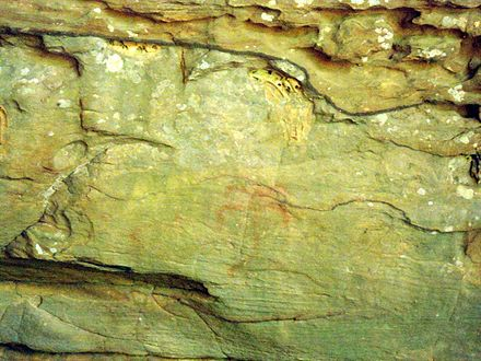 Anthropomorphic cave art in Rock House Cave at Petit Jean State Park Rock House Cave, Petit Jean State Park 002.jpg