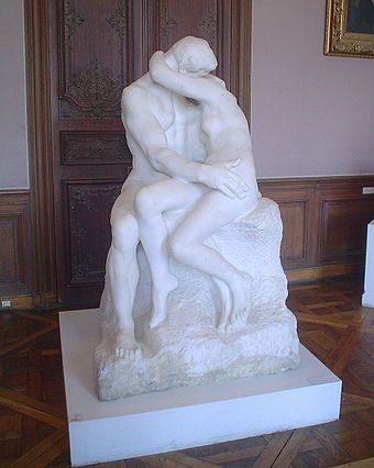 Rodin's The Kiss represents Paolo and Francesca from the Inferno. Rodin TheKiss 20050609.JPG