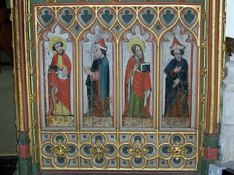 Bovey Tracey - Original paintings of apostles and prophets on the wainscot of the rood screen, restored by Anna Hulbert, dated to the early 16th century