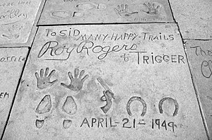 Trigger (horse) - Roy Rogers and Trigger prints on the sidewalk in front of Grauman's Chinese Theatre in Hollywood