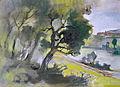 Rudolf Heinisch, Landschaftsskizze - Donautal 4, 1955.JPG