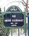 Rue Pierre-Gourdault, Paris 13, street sign.jpg