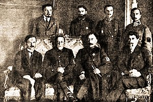 Directorate of Ukraine - The Government of UNR 1920 - Symon Petlura sitting in the lower row second from the left.