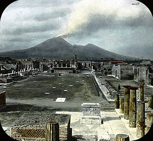 Pompeii - Pompeii, Italy. Pompeii - Forum and Vesuvius. Brooklyn Museum Archives, Goodyear Archival Collection