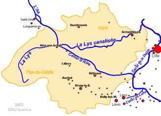 Verlauf des Flusses in Frankreich