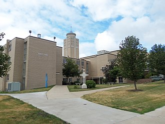 Ralph Leo Hayes - Hayes Hall (left) and Christ the King Chapel at St. Ambrose University.  The chapel was built when Hayes was bishop.