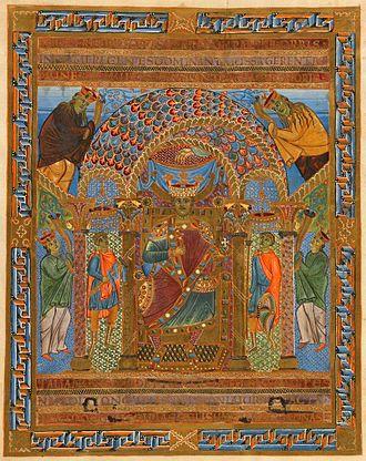 Sacramentary of Henry II - Henry II, enthroned (fol. 11v)