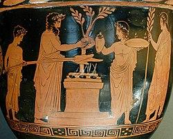 Αναπαράσταση θυσίας σε ερυθρόμορφο αττικό κρατήρα, περ. 420 π.Χ., Λούβρο