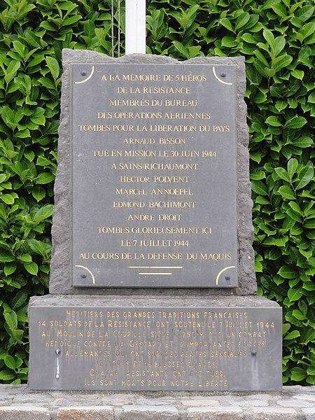 Saint-Algis (Aisne) memorial maquis de la Coupille