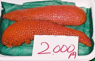Roe - Salmon roe at the Shiogama seafood market in Japan