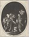 Salome receiving the head of John the Baptist, surrounded by three men and a child bearing a torch, the Baptist's body lies on the ground, an oval composition MET DP828349.jpg