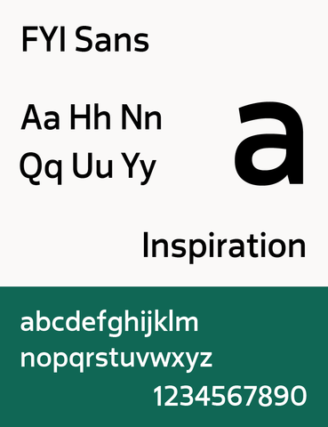 The typeface FYI Sans that was created for the 2014 renaming