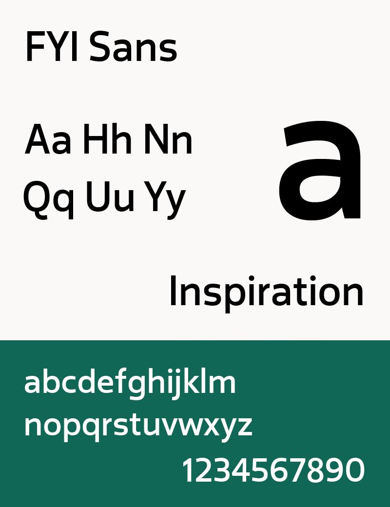 Sample FYI Sans typeface