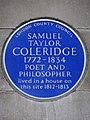 Samuel Taylor Coleridge 1772-1834 Poet and philosopher lived in a house on this site 1812-1813.JPG