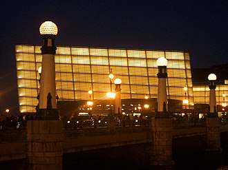 Kursaal Congress Centre and Auditorium - Night view of Kursaal Palace and Kursaal Bridge.