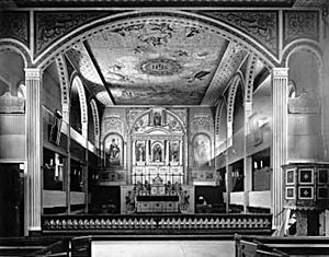 Mission Santa Clara de Asís - A view toward the altar of the exquisitely ornate Mission Santa Clara de Asís chapel, circa 1897.