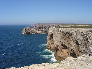 Cape St. Vincent headland in the Algarve, southern Portugal