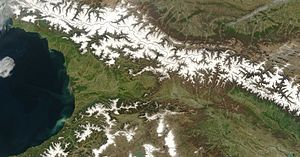 Geography of Georgia (country) - Satellite image of Georgia in late spring