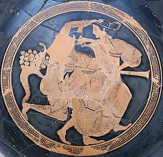 Euphronios - Paris, Louvre G 34: Bowl: A satyr pursues a maenad.