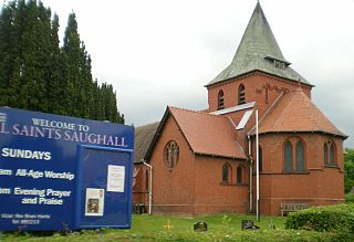 Saughall village in Cheshirer, UK