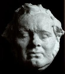 Franz Schuberts Gesichtsmaske. Es ist umstritten, ob es sich um eine Totenmaske oder eine Lebendmaske handelt.[19] (Quelle: Wikimedia)