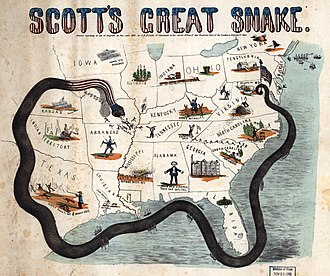 "Blockade runners of the American Civil War - 1861 characterized map of Scott's blockade plan depicting an Anaconda surrounding the Confederate states with a ""strangle hold""."