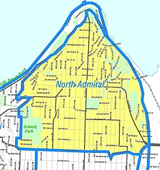 Map of West Seattle's location in Seattle