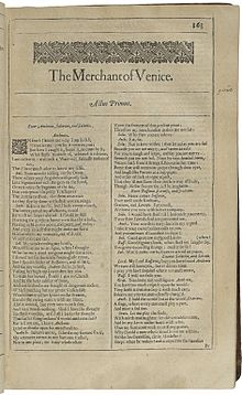 the merchant of venice  the first page of the merchant of venice printed in the second folio of 1632