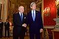 Secretary Kerry Shakes Hands With French Foreign Minister Fabius Before Paying Homage to Victims of Paris Shootings (15671856453).jpg