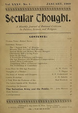 Secular Thought - Image: Secular Thought Cover Image (Jan. 1909)