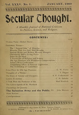 Secular Thought - Secular Thought cover (January 1909)