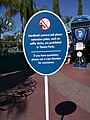 Selfie sticks prohibited sign, Disneyland, Anaheim, Orange County, California, USA (19657735050).jpg