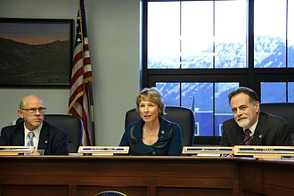 Cathy Giessel - Giessel (center) with John Coghill (left) and Peter Micciche (right) during a Resources committee meeting in February, 2015.