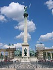 Seven chieftains of the Magyars and Statue of Gabriel. Millennium Monument. Budapest 029.jpg