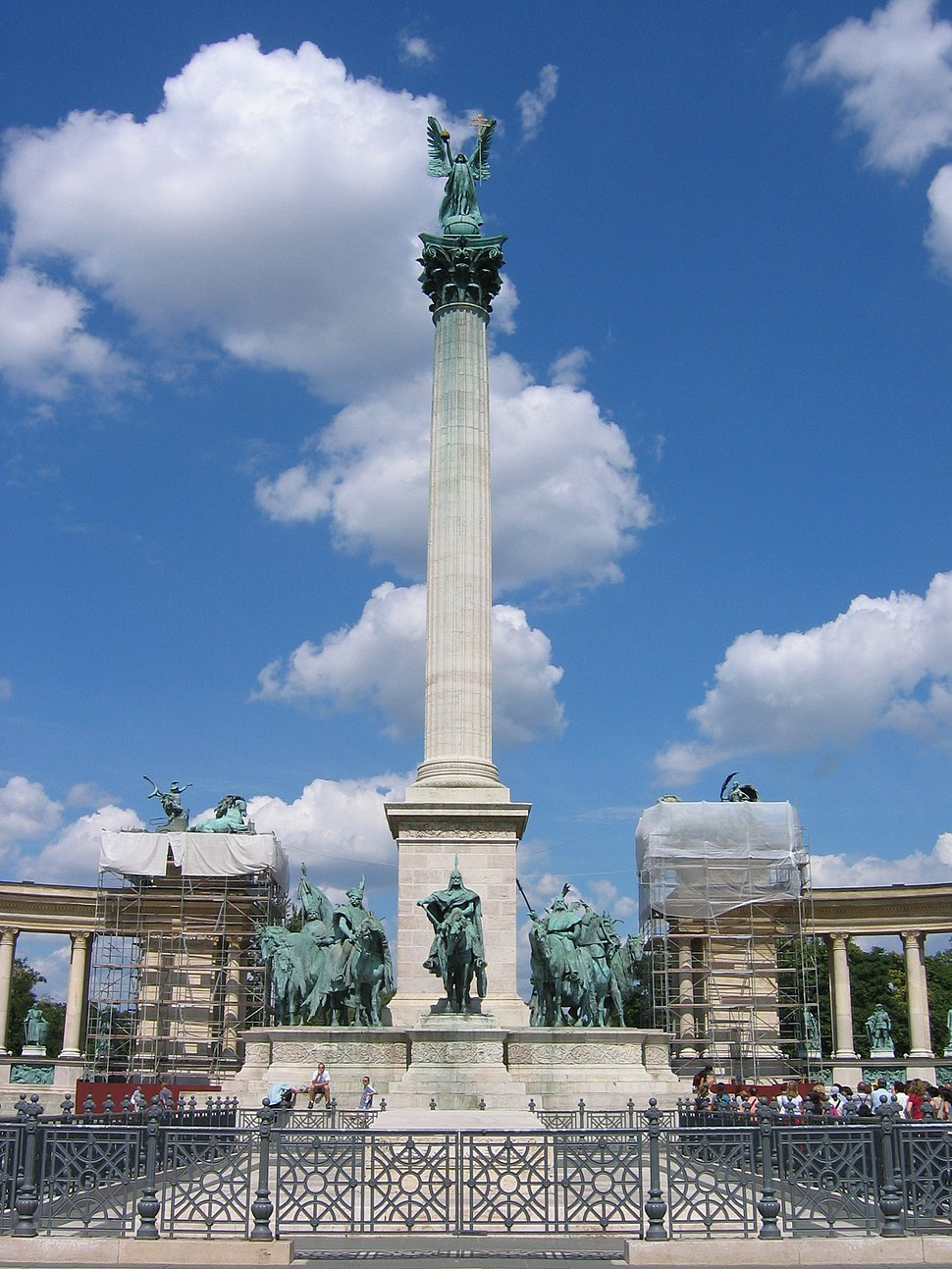 Seven chieftains of the Magyars and Statue of Gabriel. Millennium Monument. Budapest 029
