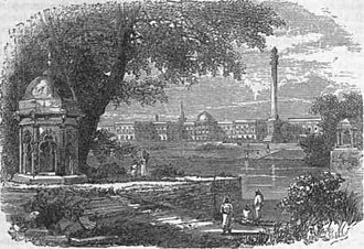 Shaheed Minar, Kolkata - An old photo of Shaheed Minar (visible at right)