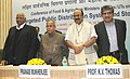 Sharad Pawar, the Union Finance Minister, Shri Pranab Mukherjee, the Minister of State (Independent Charge) for Consumer Affairs, Food and Public Distribution, Professor K.V. Thomas and the Chairman, UIDAI.jpg