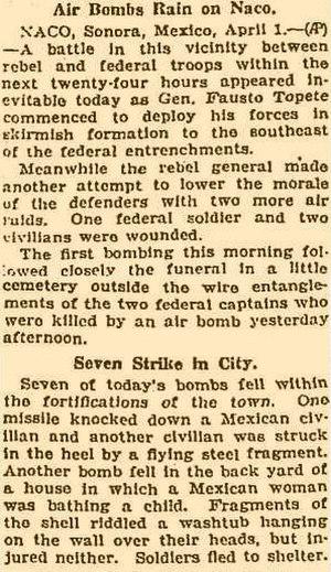 Siege of Naco - Image: Siege Of Naco Chicago Daily Tribune 1929 04 02