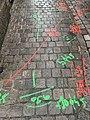 Signes au sol pour le déploiement de la fibre, rue des Trois Mollettes (Lille).jpg