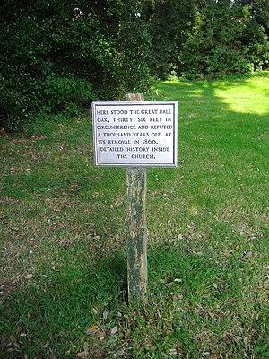Bale, Norfolk - Image: Site of the Bale Oak 30 August 2008